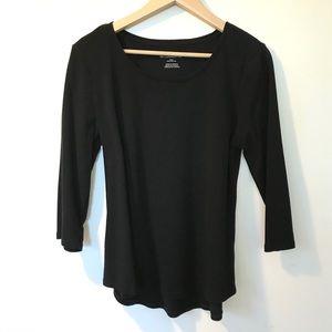 CHICO's Three Quarter Sleeve Black T-shirt Medium